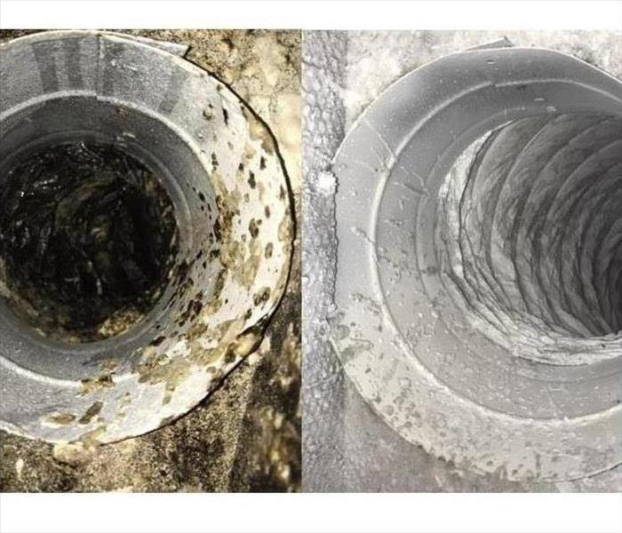 A side by side Before and after picture of a dirty vent and a clean vent